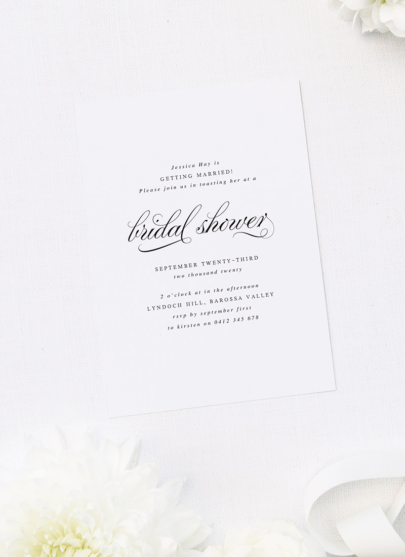 Stunning Classic Calligraphy Cursive Bridal Shower Invitations