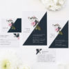 Contemporary Geometric Botanical Wedding Invitations Black and White Edgy Striking Layout Modern Flower Pink Floral Bloom