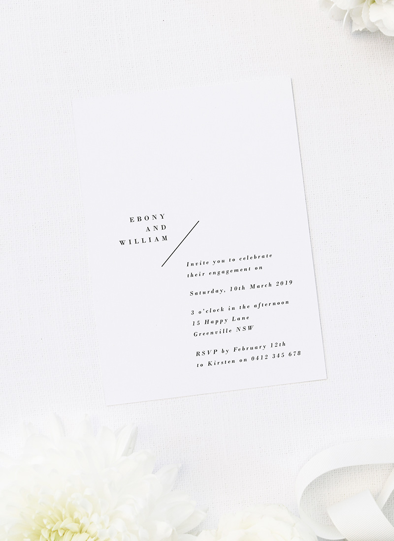 Simple Minimal Layout Classic Engagement Invitations