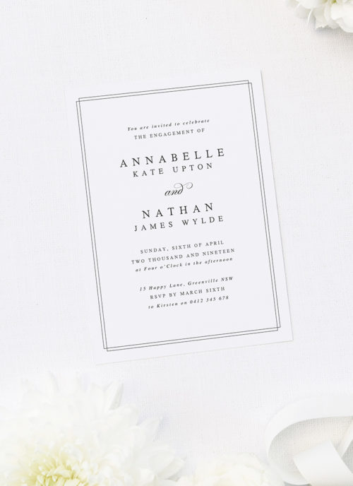 Elegant Border Classic Engagement Invitations