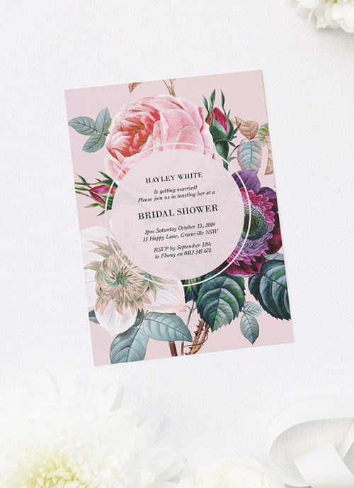 Elegant Rose Floral Bouquet Bridal Shower Invitations