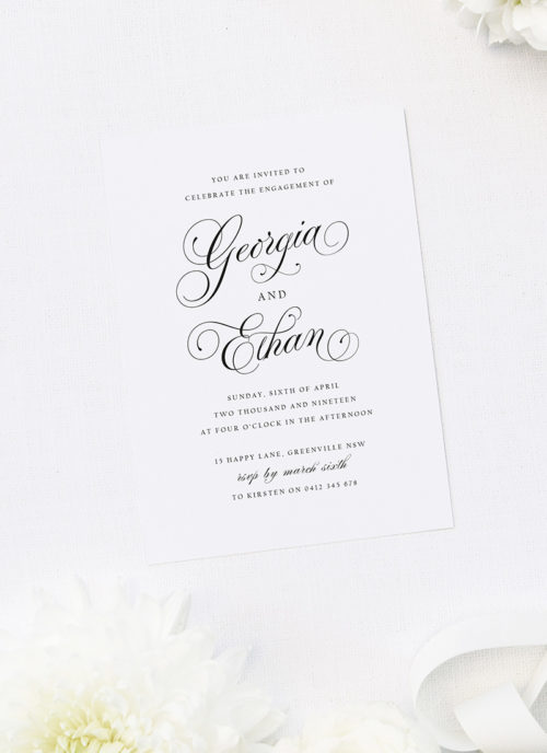 Sophisticated Classic Calligraphy Script Engagement Invitations