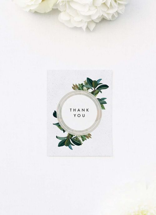 Modern Botanical Leaf Wedding Thank You Cards Modern Botanical Leaf Wedding Invitations