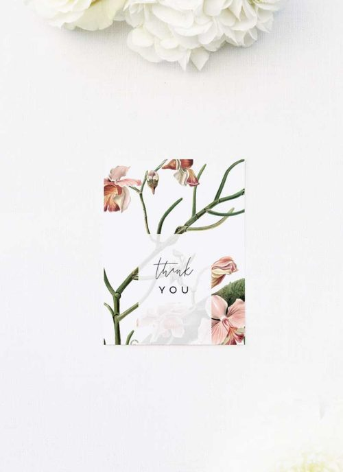Orchid Flower Wedding Thank You Cards Orchid Flower Wedding Invitations - Peach Pink Orchid Flowers