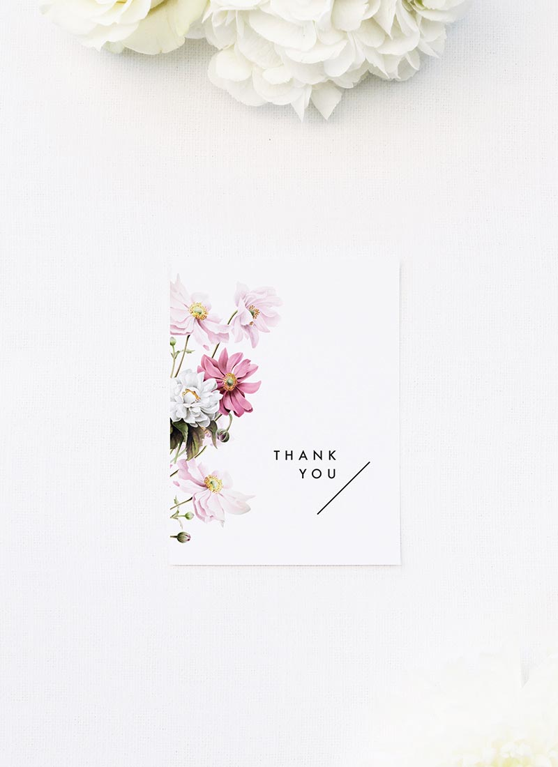 White Pink Daisies Wedding Thank You Cards White Pink Daisies Wedding Invitations