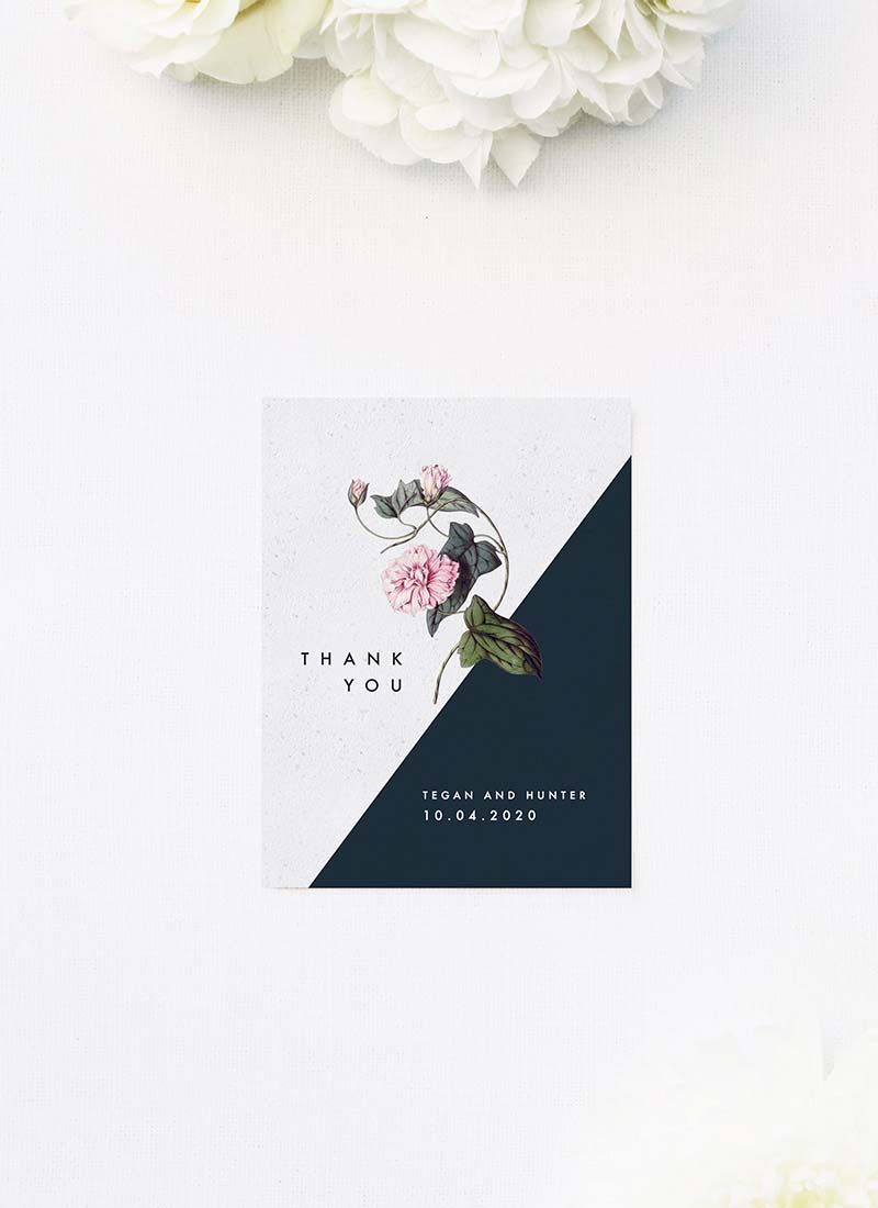 Contemporary Geometric Botanical Wedding Thank You Cards Contemporary Geometric Botanical Wedding Invitations Black and White Edgy Striking Layout Modern Flower Pink Floral Bloom