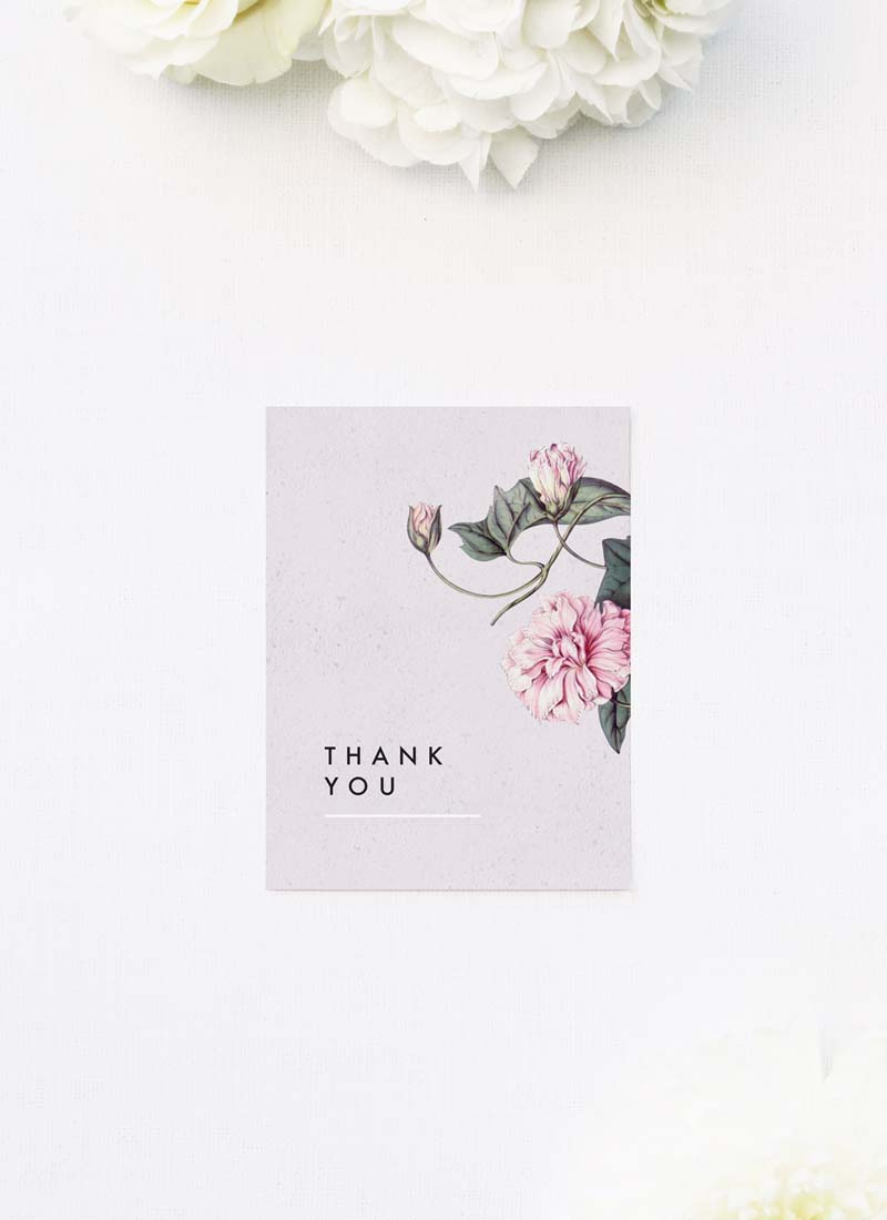 Modern Pink Grey Floral Wedding Thank You Cards Modern Pink Grey Floral Wedding Invitations elegant pink flower floral vine leaf greenery