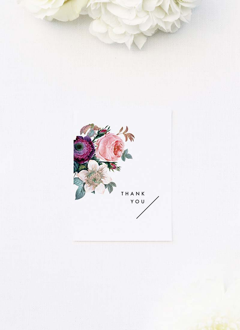 Modern Minimal Floral Rose Wedding Thank You Cards Modern Minimal Floral Rose Wedding Invitations