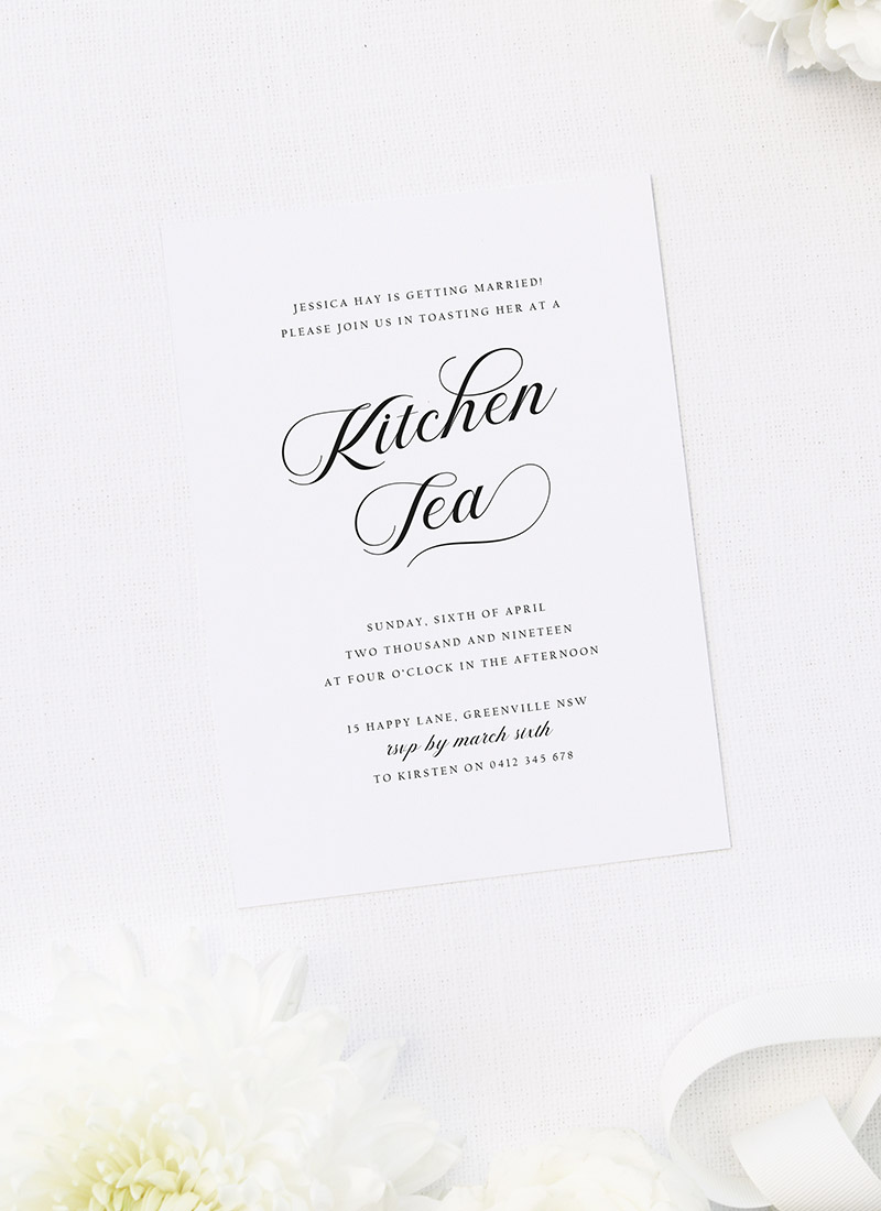 Elegant Cursive Calligraphy Script Kitchen Tea Invitations