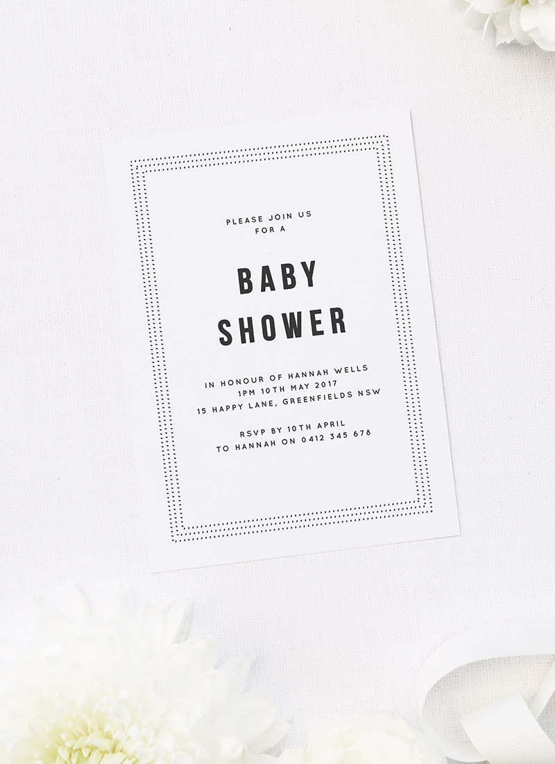 Grey Baby Shower Invites