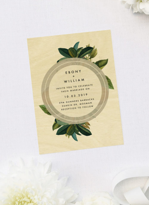 Elegant Modern Botanical Green Leaf Foliage Wooden Wedding Invitations