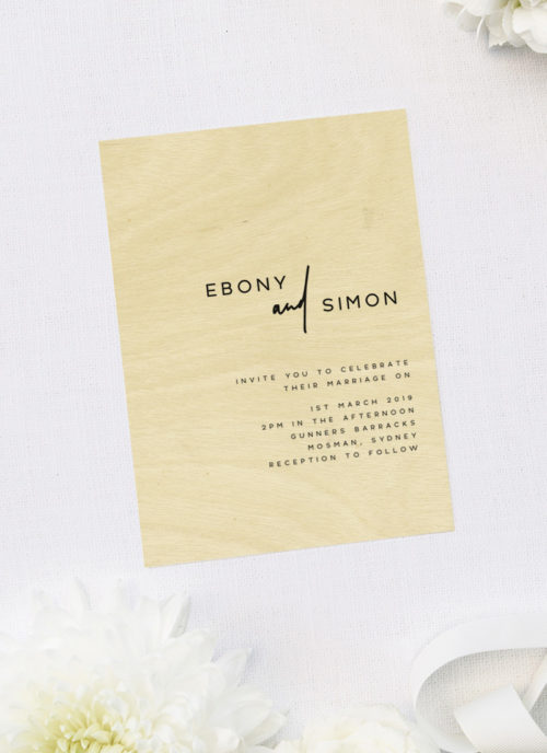 Clean Simple Minimal Modern Layout Wooden Wedding Invitations