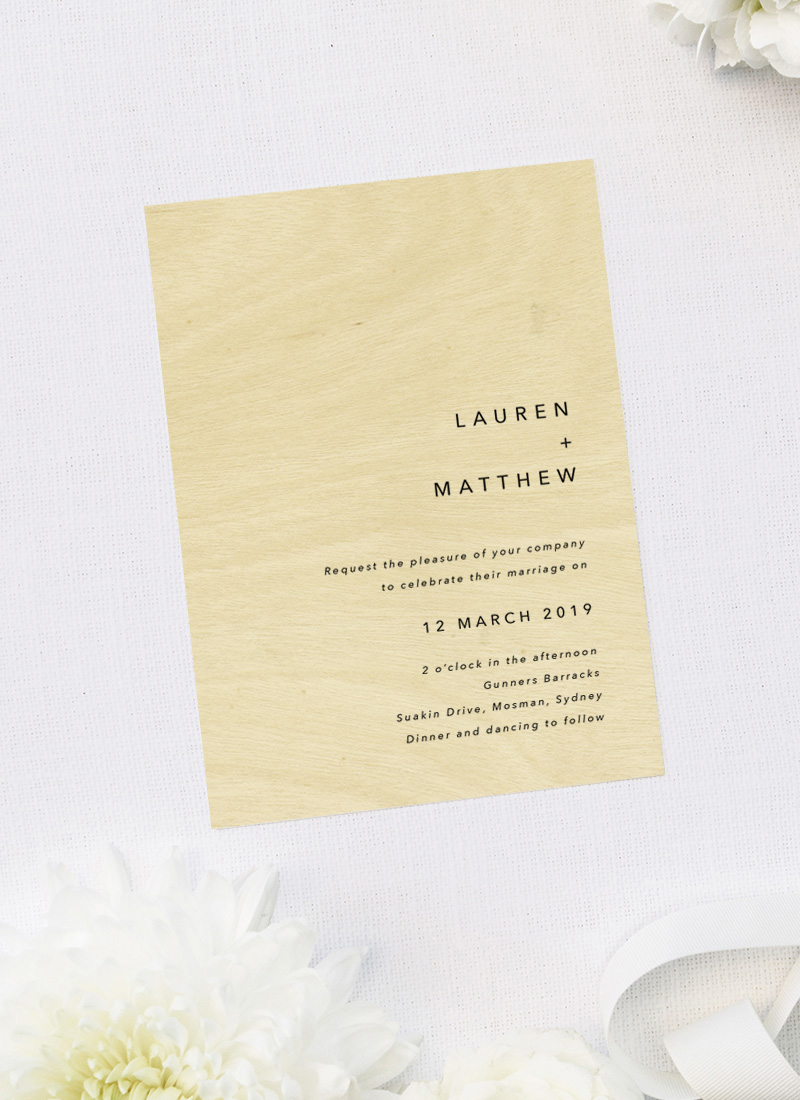 Modern Minimal Font Capitals Clean Contemporary Wooden Wedding Invitations
