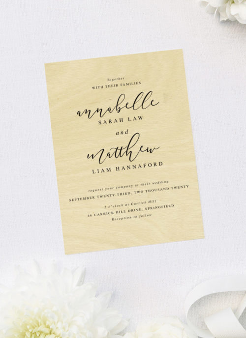 Pretty Elegant Cursive Font Script Wooden Wedding Invitations