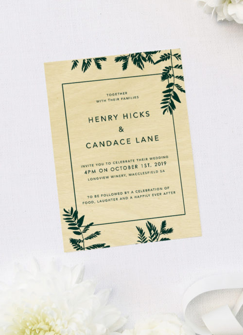 Luscious Fern Wooden Wedding Invitations