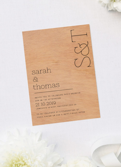 Modern Couples Initials Wooden Wedding Invitations