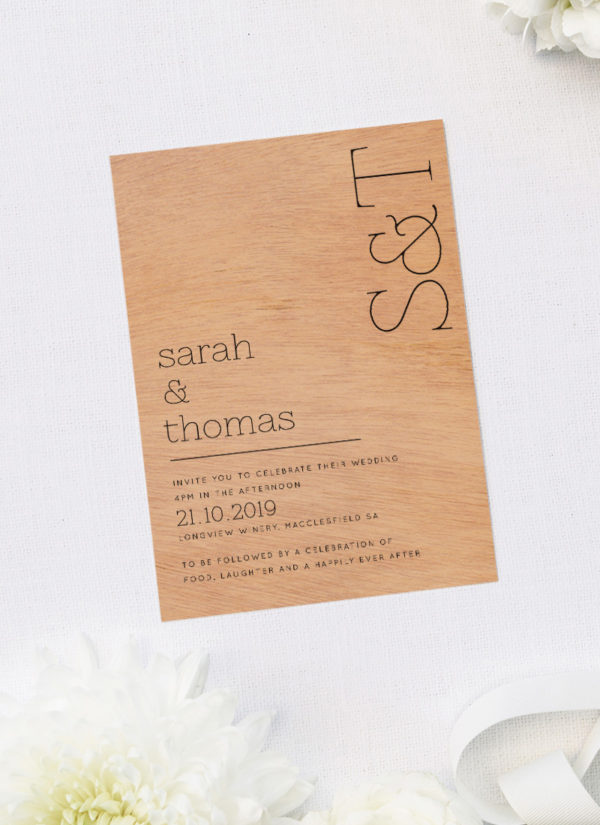 Modern Couples Initials Wooden Wedding Invitations Sail And Swan Studio