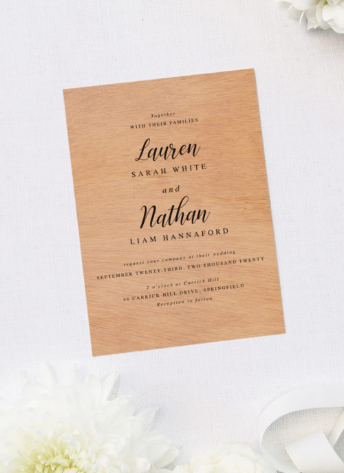 Elegant Cursive Classic Wooden Wedding Invitations