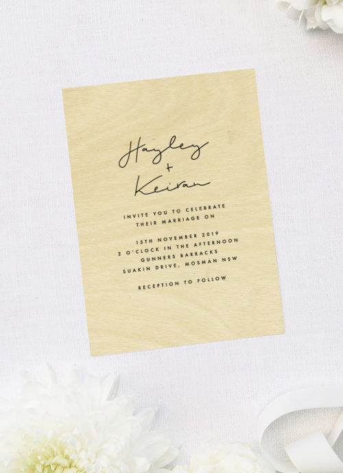 Stylish Natural Chic Luxe Writing Wooden Wedding Invitations