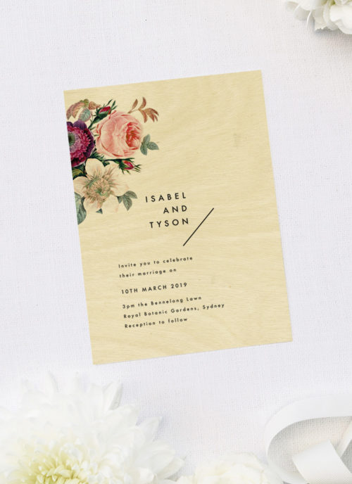 Modern Rose Floral Bouquet Wooden Wedding Invitations