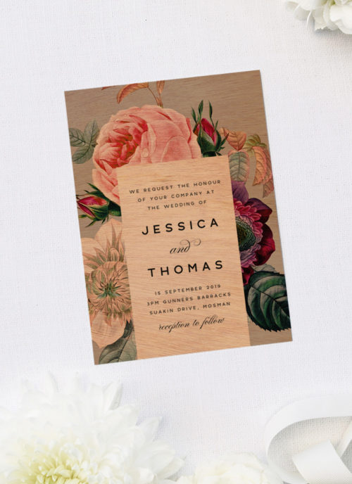 Elegant Classy Rose Floral Bouquet Wooden Wedding Invitations