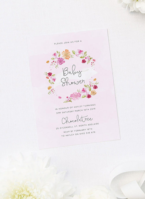 Flower Wreath Baby Shower Invitations