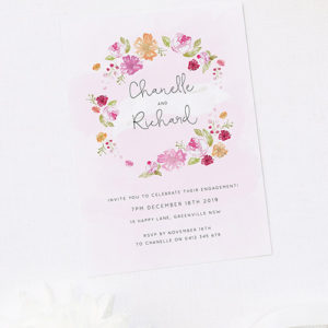 Pastel Floral Wreath Engagement Invitations