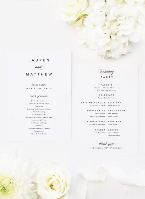 Sophisticated Elegant Names Wedding Ceremony Programs