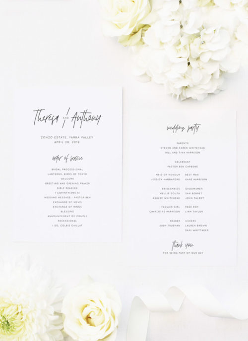 Modern Writing Font Minimal Wedding Ceremony Programs