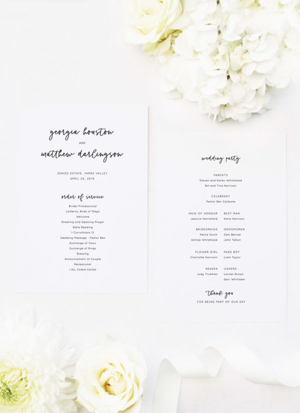 Wedding Ceremony Programs.Modern Minimal Cursive Writing Wedding Ceremony Programs