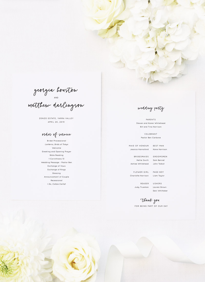 Modern Minimal Cursive Writing Wedding Ceremony Programs