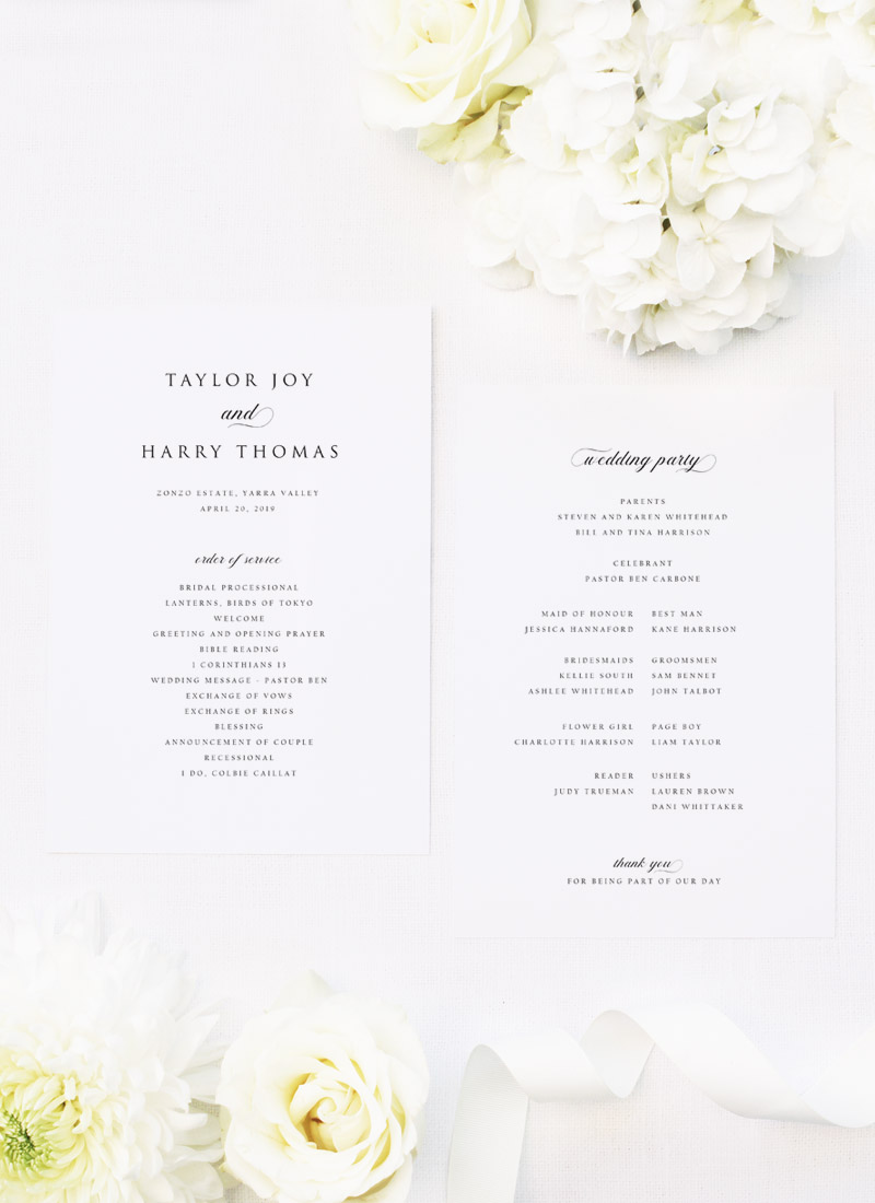 Simple Timeless Classy Wedding Ceremony Programs