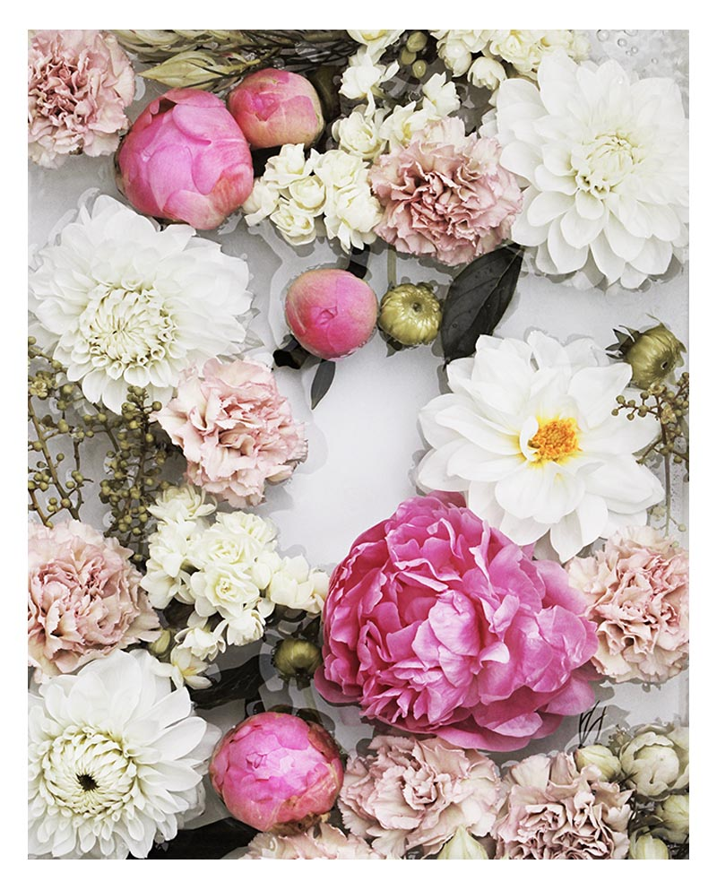 This Peony Floral Art Print features Pink White Cream Flowers with a striking combination of peonies, dahlias and carnations.