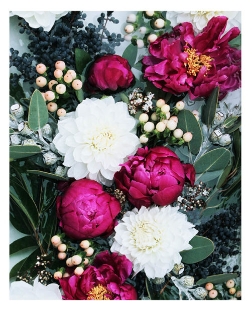 Deep Fuchsia Floral Art Print - Floral Wall Art with Deep Pink Burgundy Peonies and Greenery