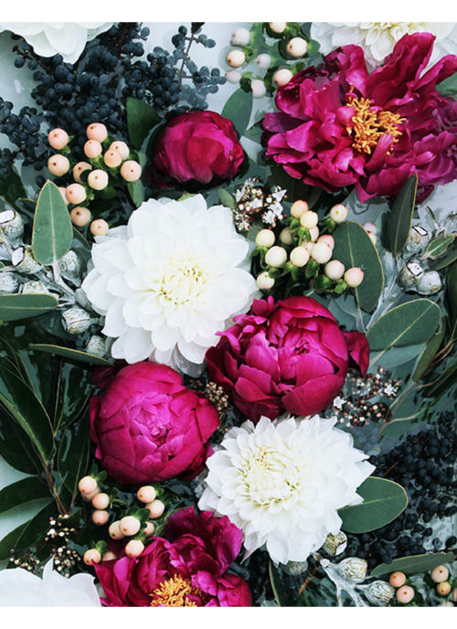 Deep Fuchsia Floral Art Print -Floral Wall Art with Deep Pink Burgundy Peonies and Greenery
