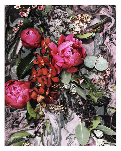 Dramatic Floral Art Print -Dramatic Abstract Floral Wall Art with Deep Pink Fuchsia Peonies Red Orchids