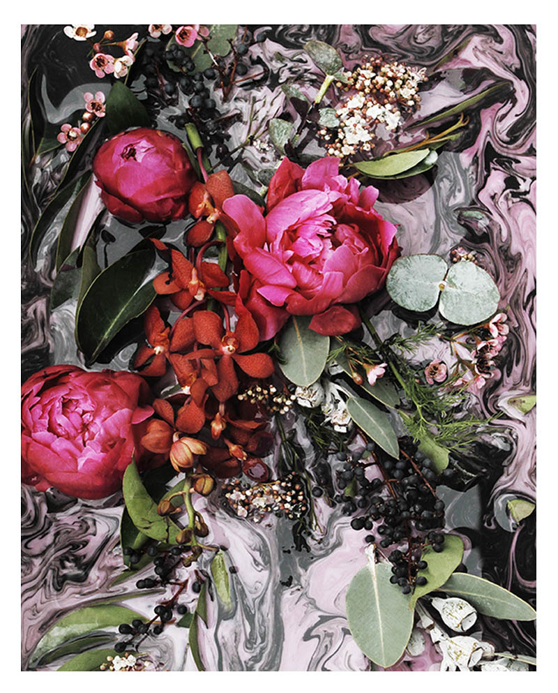 Dramatic Floral Art Print - Dramatic Abstract Floral Wall Art with Deep Pink Fuchsia Peonies Red Orchids