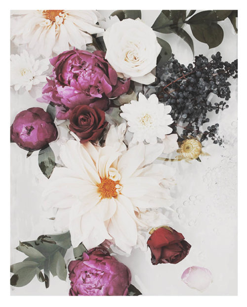 Faded Floral Wall Art - Faded Floral Art Print with Faded Roses, Dahlias, Flowers and Botanicals