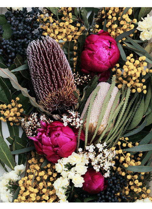 Native Floral Photographic Art Print - Native Floral Photographic Wall Art - Peony and Banksia Flowers with Native Botanicals