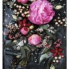 Black Floral Photo Art Print - Photo Wall Art Dark Moody Florals Pink Peony Flowers Botanical Photo