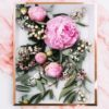 Peony Flower Art Print - Lilac Floral Wall Art with Pink Peonies and Green Leaves