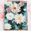 Modern Flower Art Print - Floral Wall Art Cream Dahlia and Pink Carnation Flowers