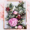 Native Botanical Art Print - Floral Wall Art Native Botanical Pink Peony